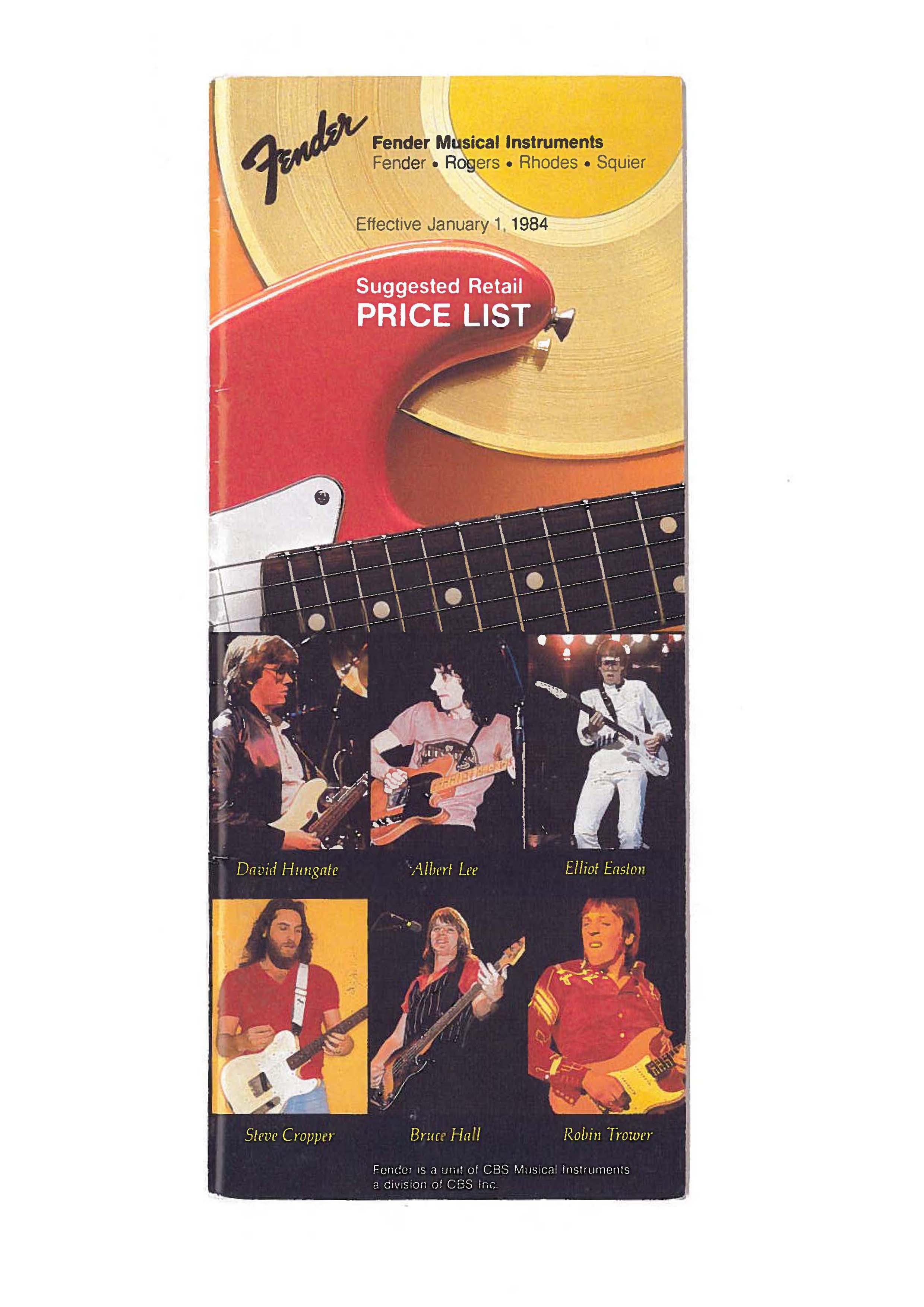 Fender Price list 1984