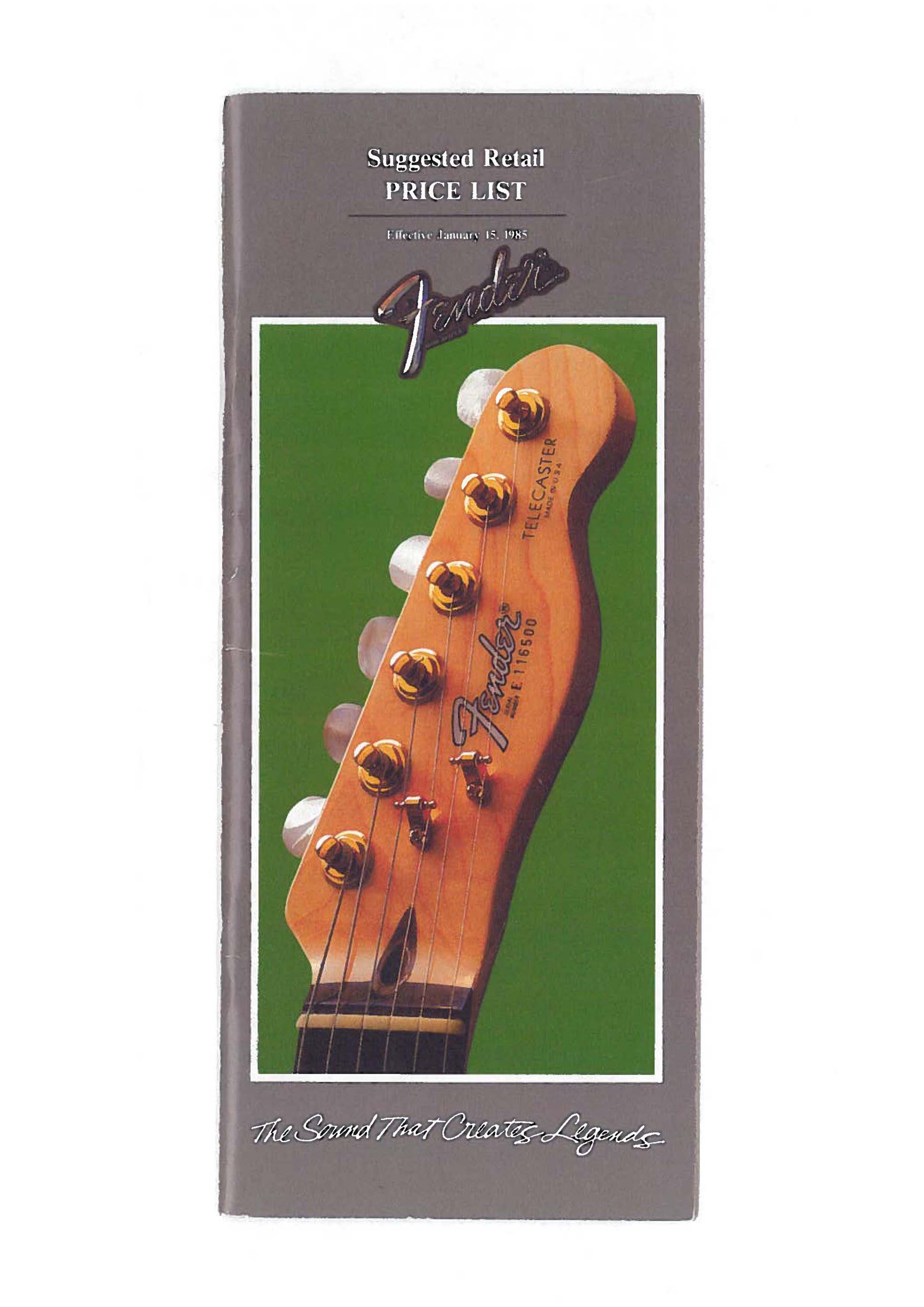 Fender Price list 1985