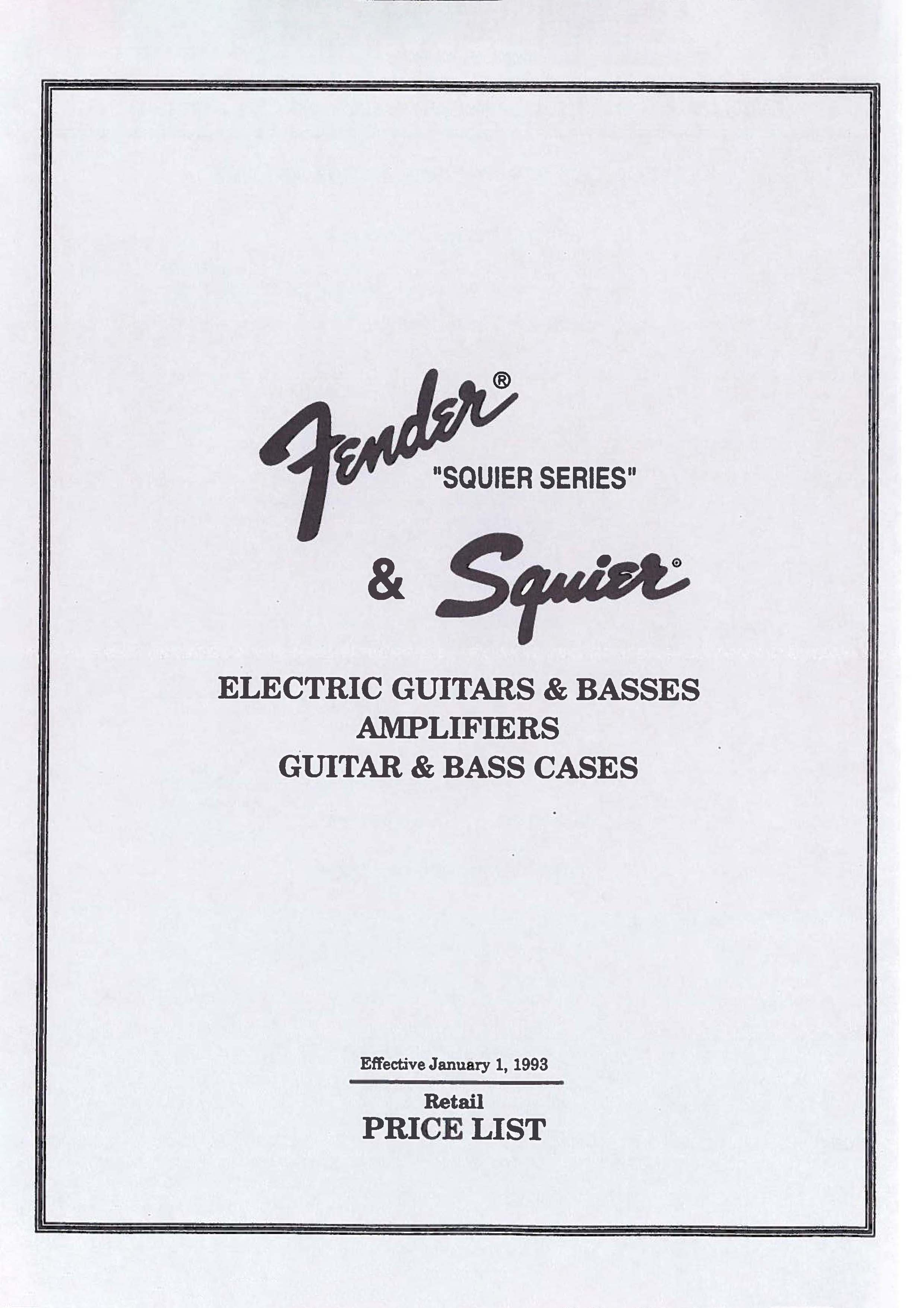 Fender Price list 1993