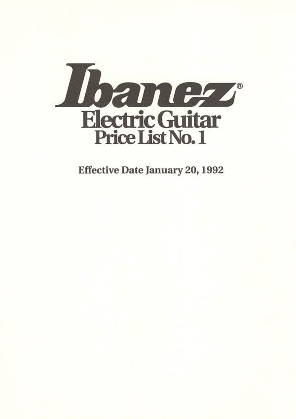 Ibanez Price list 1992 (January)