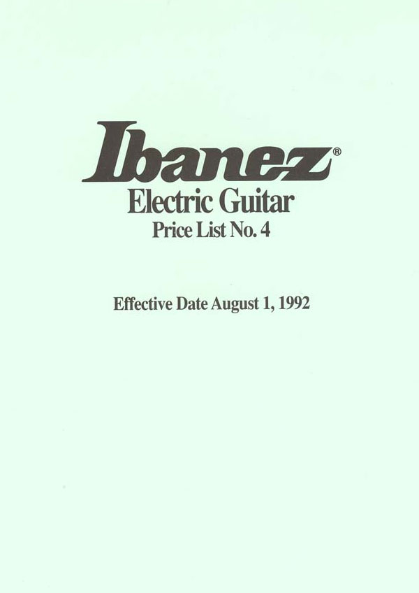 Ibanez Price list 1992 (August)