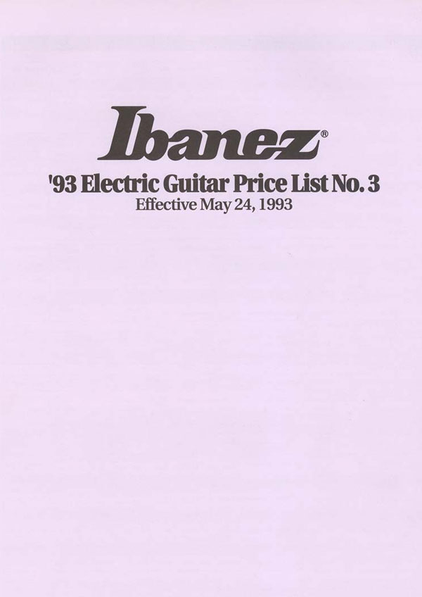 Ibanez Price list 1993 (May)