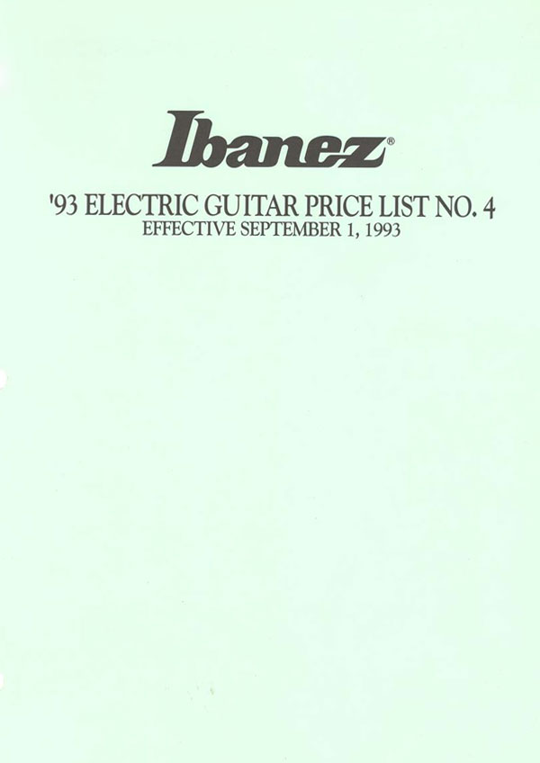 Ibanez Price list 1993 (September)