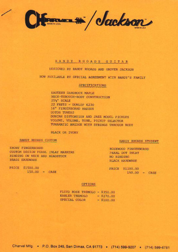 Charvel Price List 1983