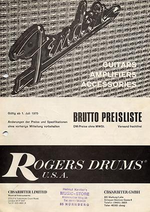 Fender Price list 1975 Germany