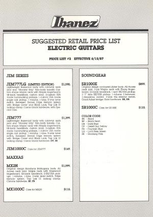 Ibanez Price list 1987