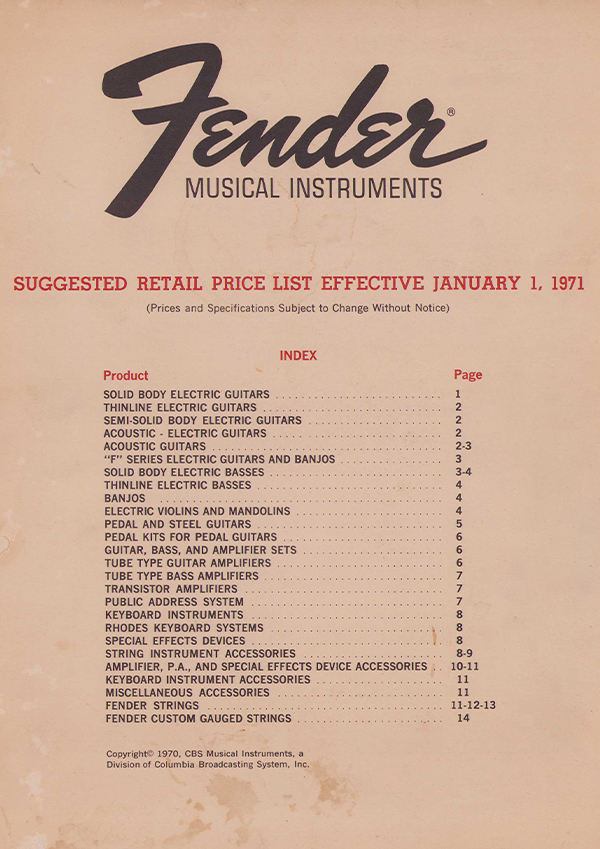Fender Price list 1971